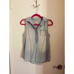 J Crew - Sleeveless Denim Top